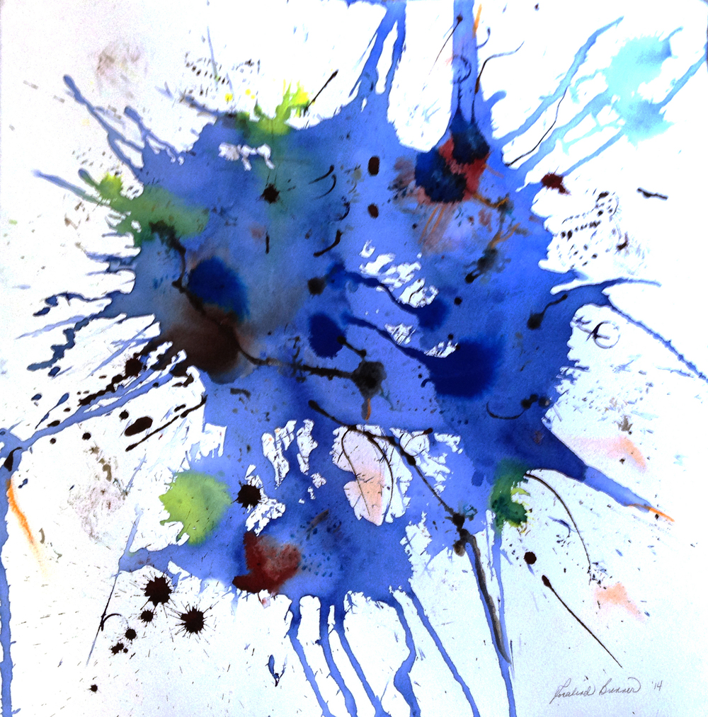 "Blue Skull 2014 30"" x 30"" Liquid Watercolor on Paper"