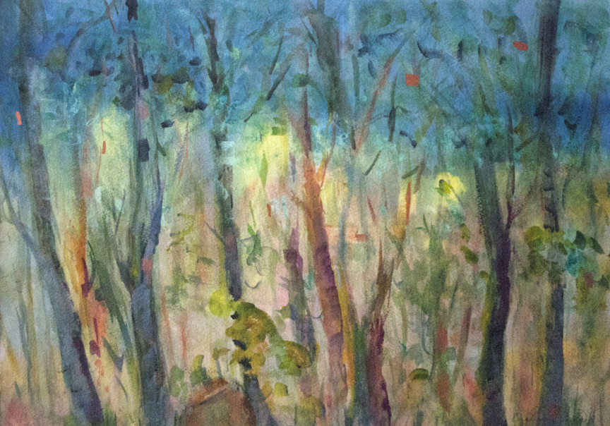 "Blue Light in The Forest 1997 21 1/2"" x 28 3/4"" Watercolor on Paper"