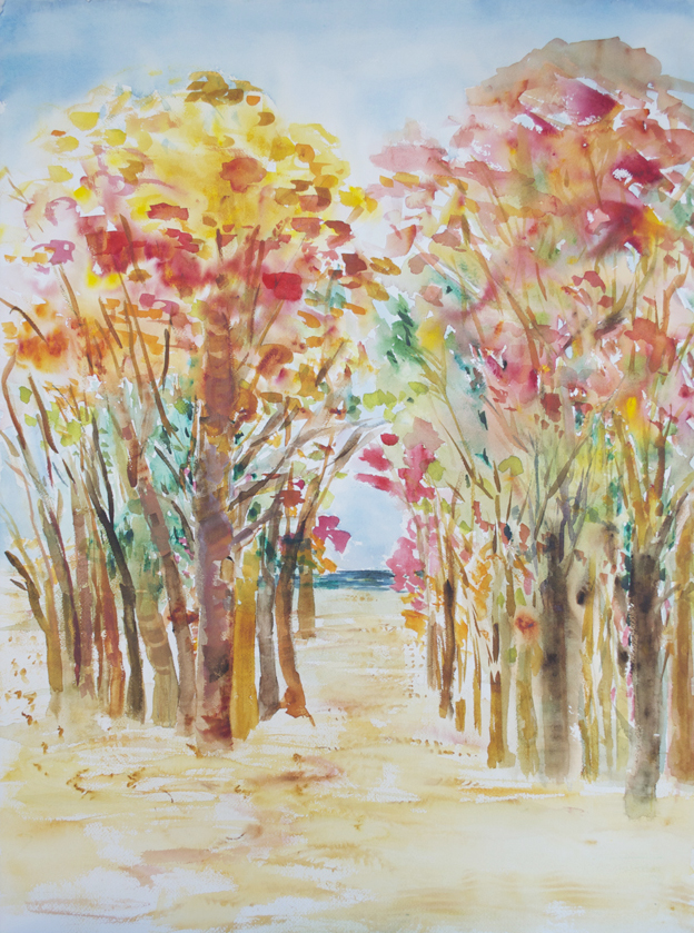 "Autumn Trees 1996 30"" x 22 1/4"" Watercolor on Paper"