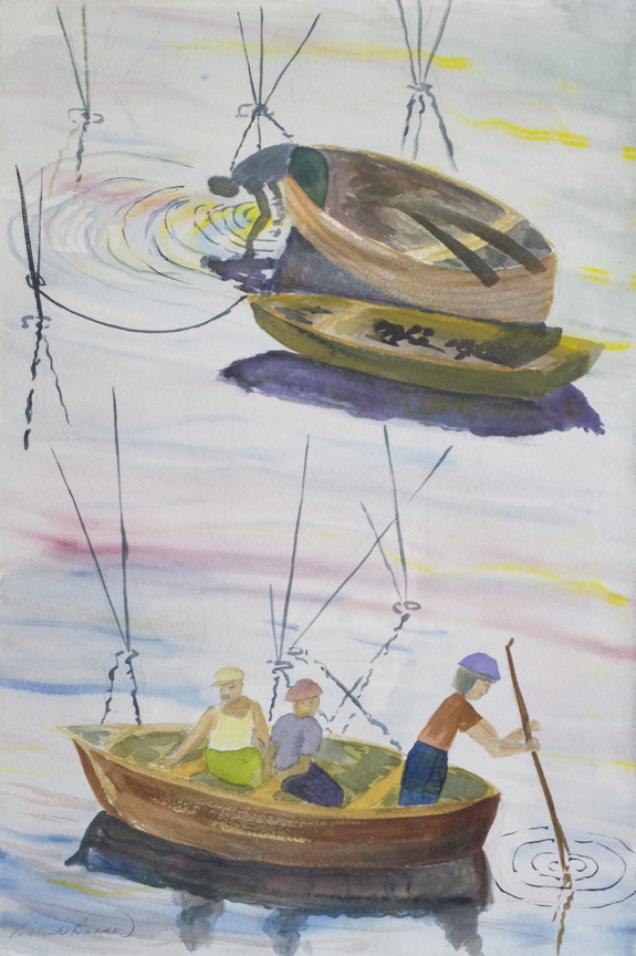 "Asia Fishermen  2009 22"" x 15"" Watercolor on Paper"