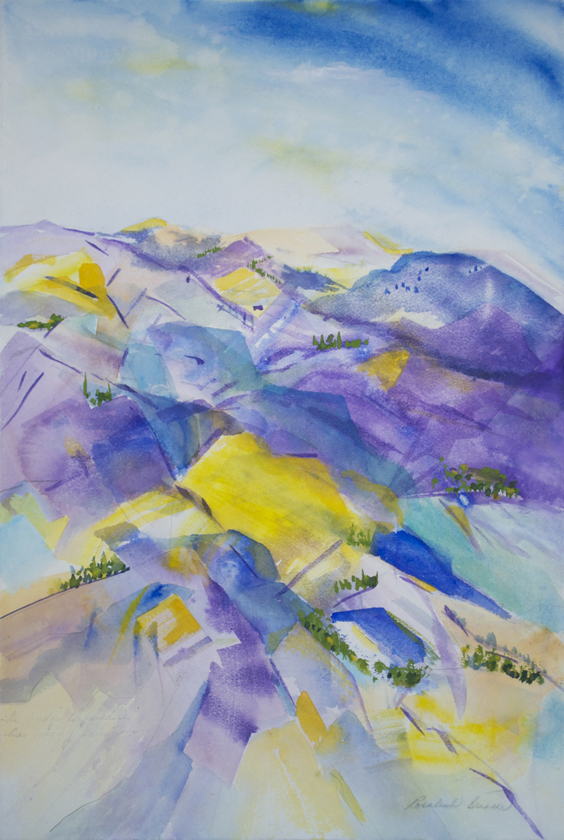 "Purple Mountain Scene  2002 22.25"" x 15 Watercolor on Paper"