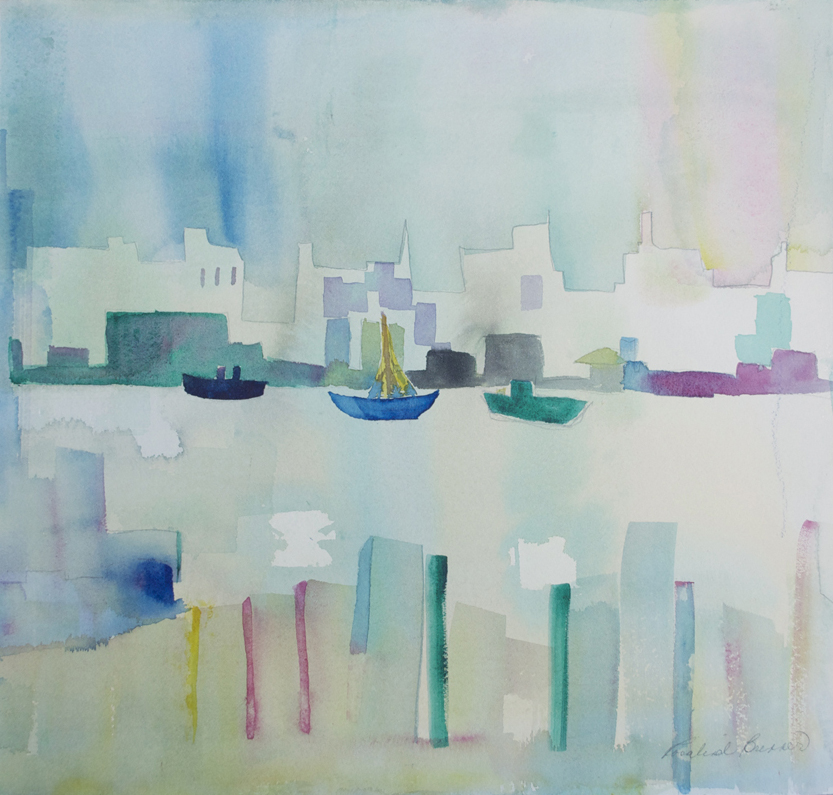 "Cityscape Riverview 2 1997 14 3/4"" x 15 1/4"" Watercolor on Paper"