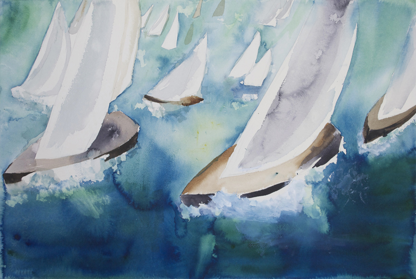 "Sailboat Race 3 2000 15"" x 22"" Watercolor on Paper"