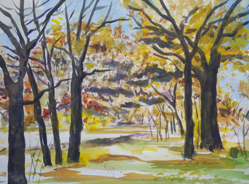 "Arboretum  1992 11.25"" x 15"" Watercolor on Paper"