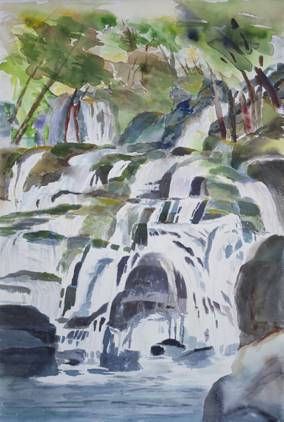 "Waterfall Yugoslavia 1995 22 1/4"" x 15"" Watercolor on Paper"