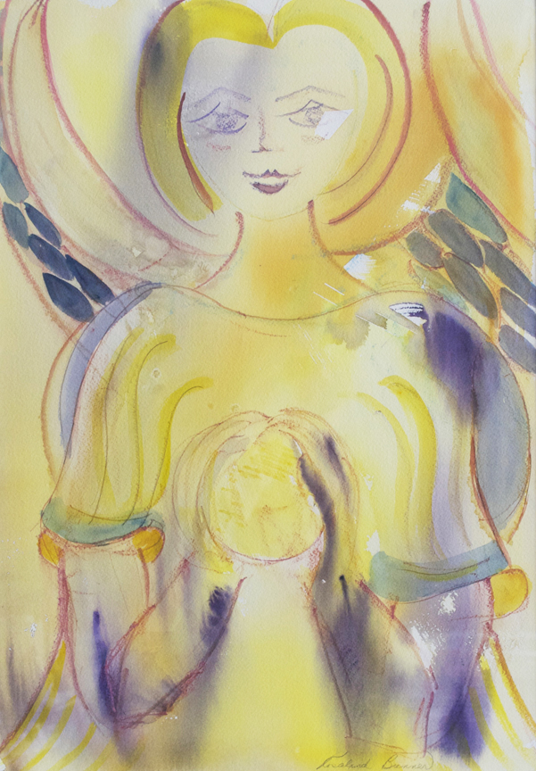 "Angel Holding Sphere 1998 19 1/4"" x 13 1/4"" Watercolor on Paper"
