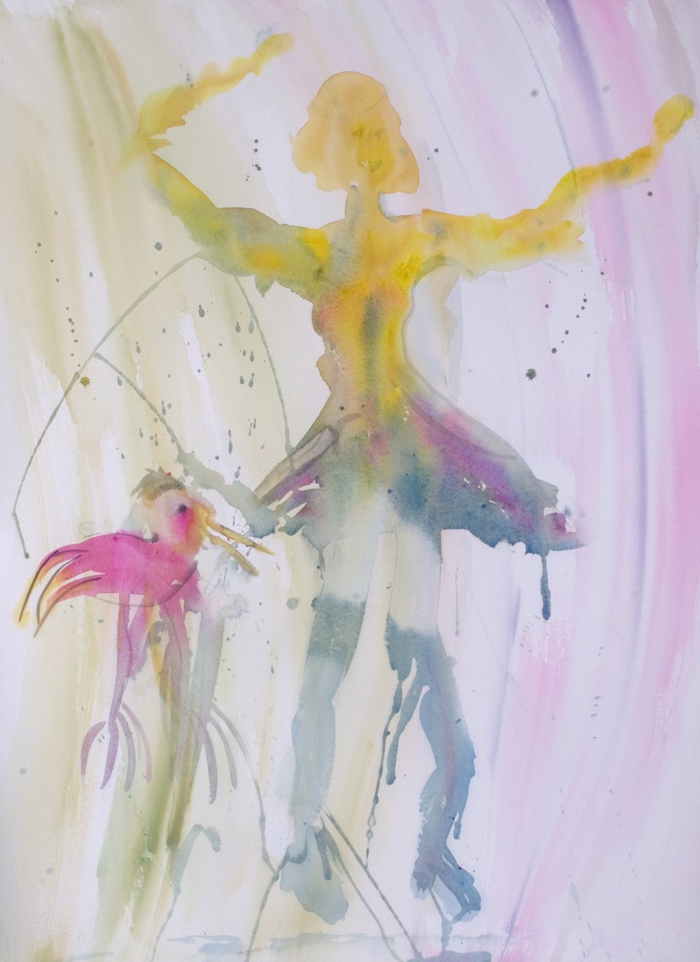 "Dancer with Muse 1 1997 38"" x 30"" Watercolor on Paper"