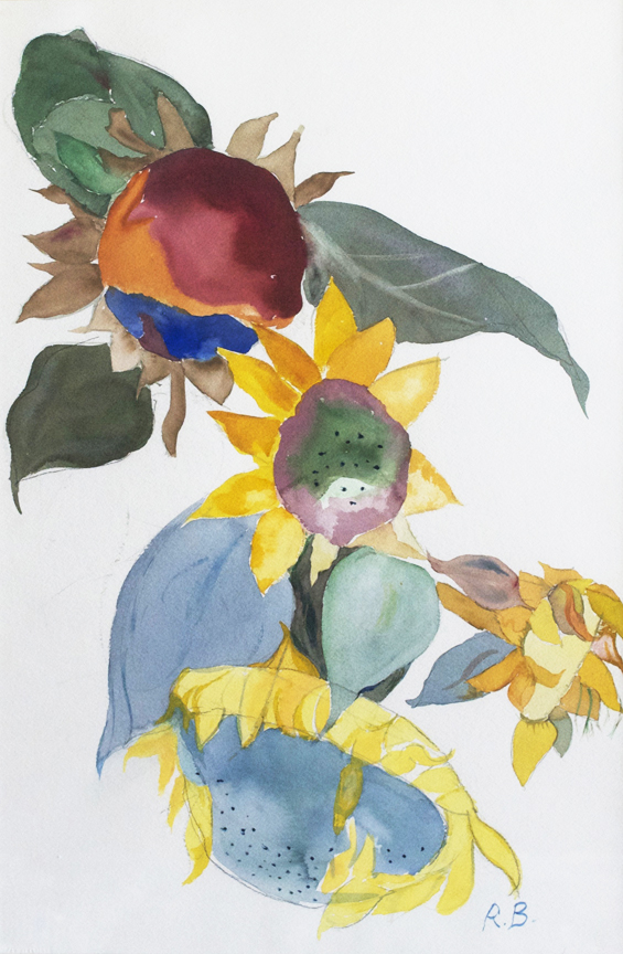 "Sunflower Vignette  1995 21.75"" x 14.50"" Watercolor on Paper"