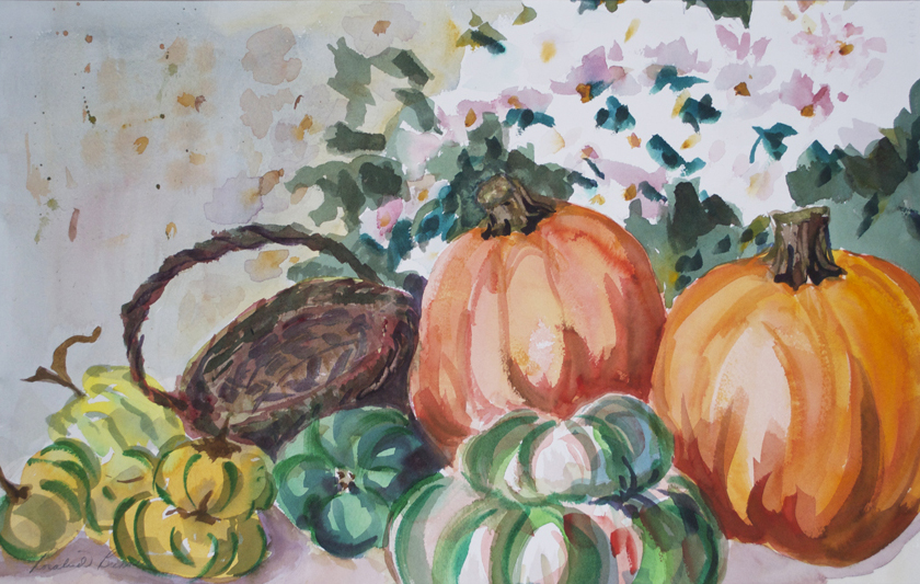 "Pumpkin Still Life  1996 13 1/2"" x 22 1/4"" Watercolor on Paper"