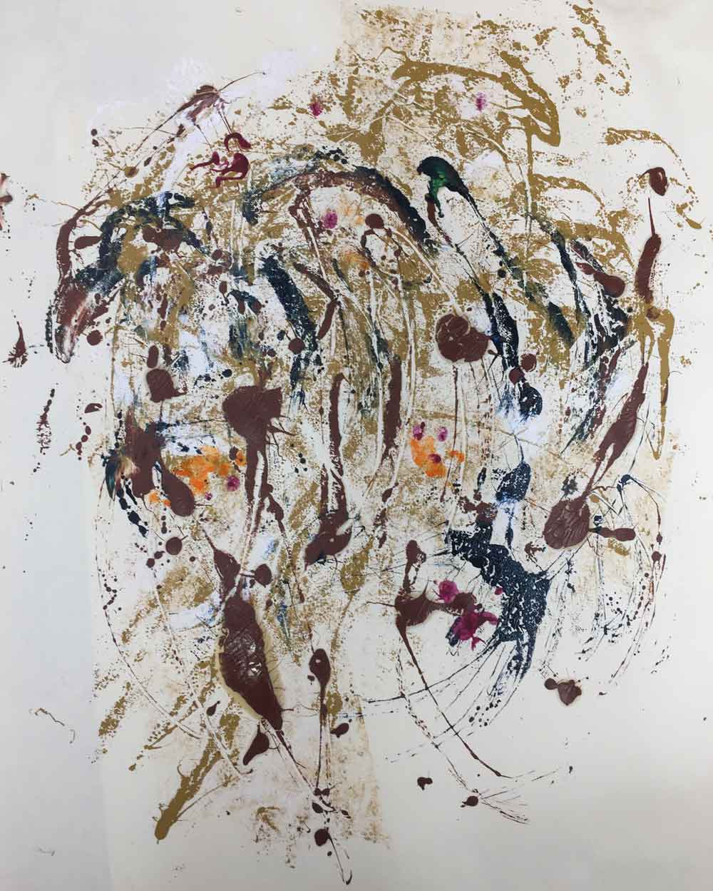 "Birds 3  2018 22.50"" x 17.50"" Monotype - Oil Ink on Paper"