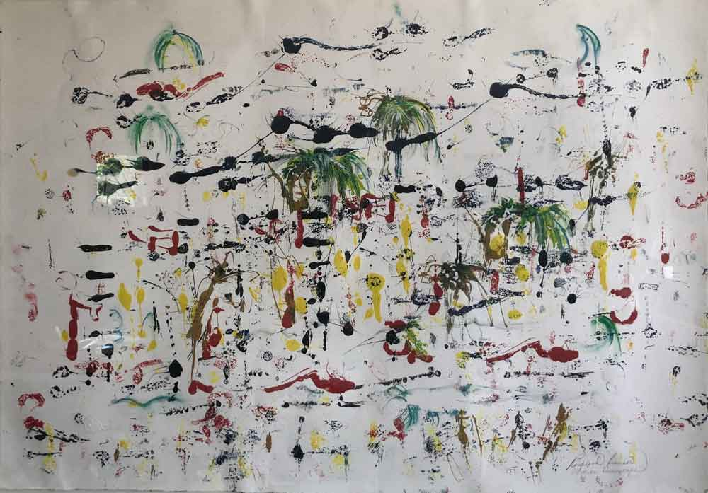 "Abstract with Palms  2017 24.50"" x 36"" Monotype - Oil Ink on Paper"