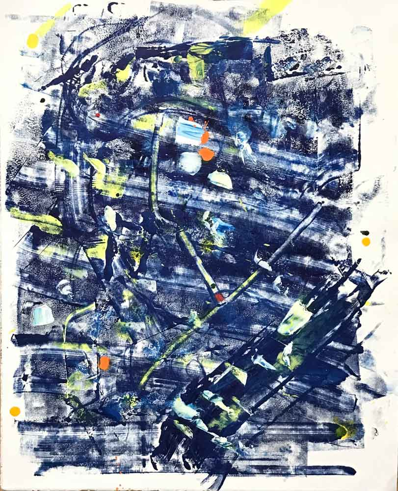 "Abstract in Blues and Yellows  2017 22.50"" x 18"" Acrylic on Paper"