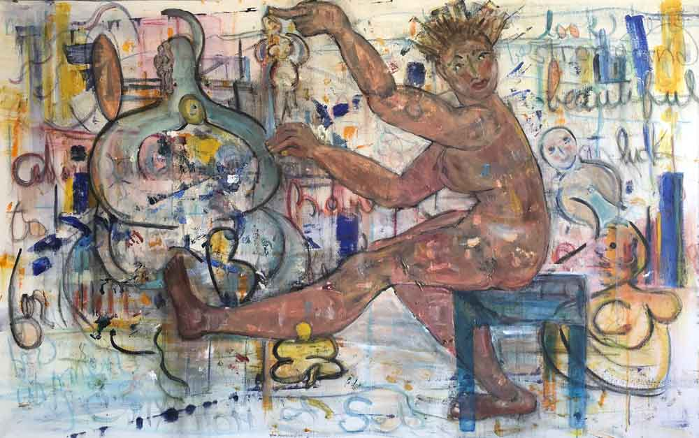 "Magic Woman  2018 42"" x 66"" Mixed Media on Canvas"