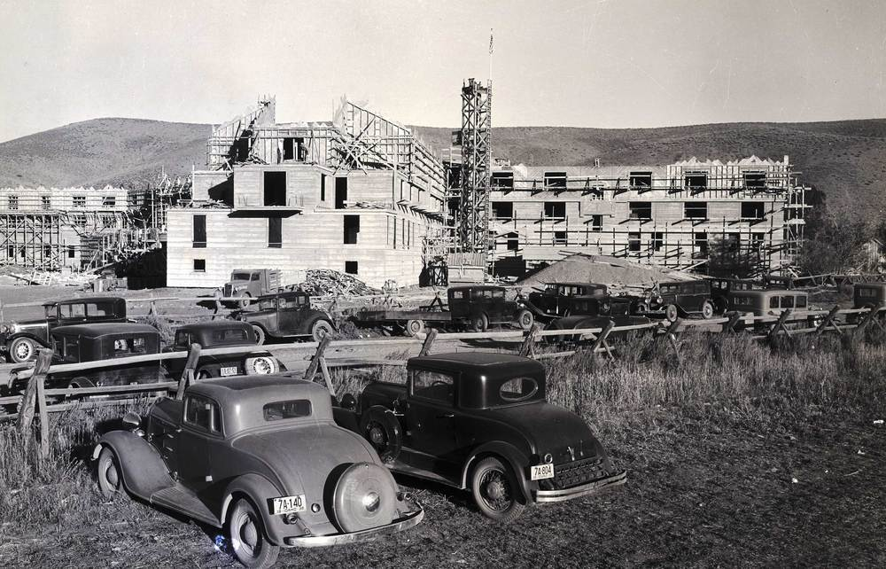Construction of the Sun Valley Lodge. Martyn Mallory was hired by Union Pacific in the summer of 1936 in order to document the building of the resort.