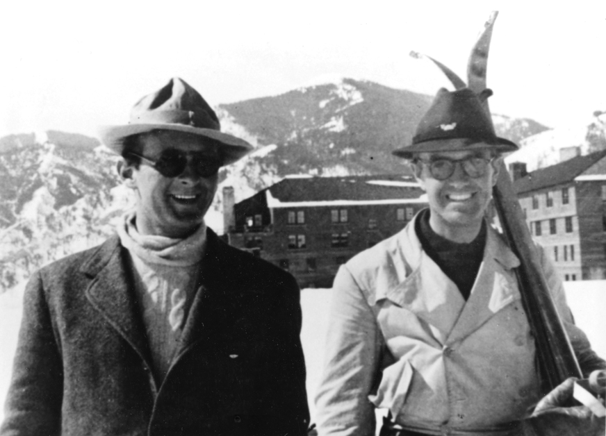 "In front of Sun Valley Lodge in 1936 -   Count   Felix Schaffgotsch   had been hired by Union Pacific Chairman Averell Harriman to scout the West for the finest spot on which to build a destination ski resort. Within three days of arriving in Ketchum, the Count wired Harriman: ""Among the many attractive spots I have visited, this combines the more delightful features of any place I have seen in the United States, Switzerland, or Austria for a winter ski resort."""