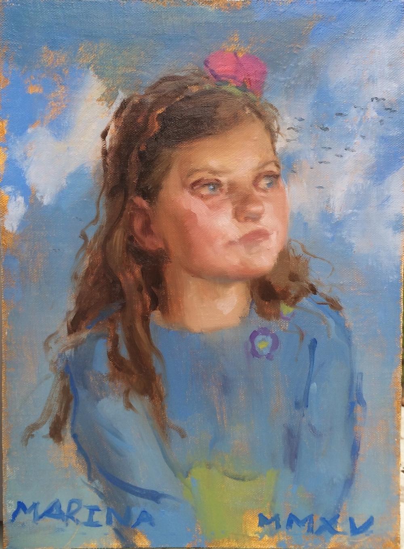 """Marina, Oil on panel, 13"""" x 9.5"""""""