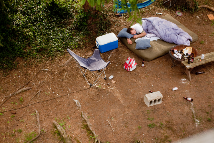Scott sleeping outside