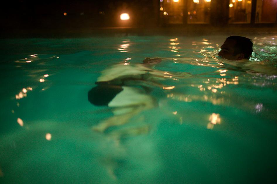 Nighttime swimming in New York
