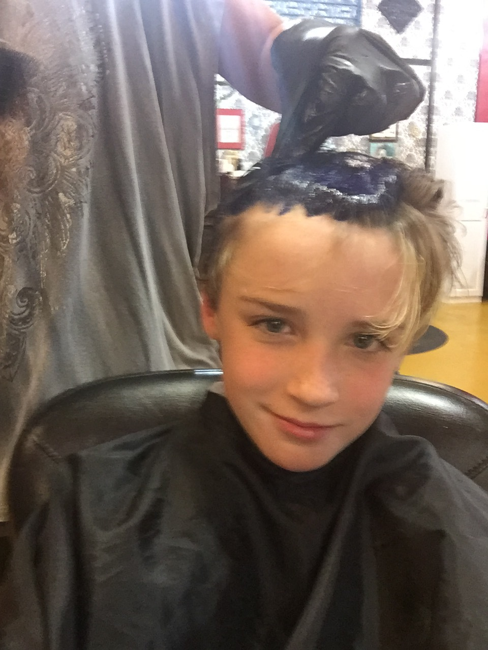 Jackson got in on the fun and got blue in his hair!