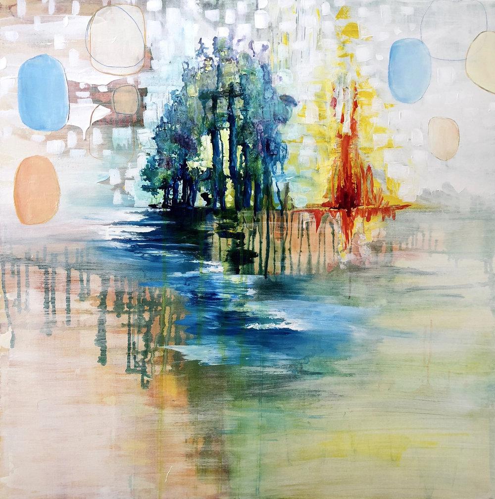"Dwell    36"" x 36"" mixed media on canvas"