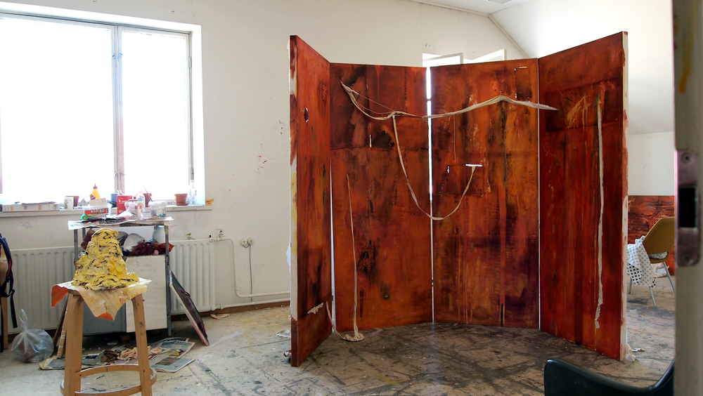 Untitled  2011  Acrylic, oil, fabric, thread, plaster  each panel 80 x 200 cm