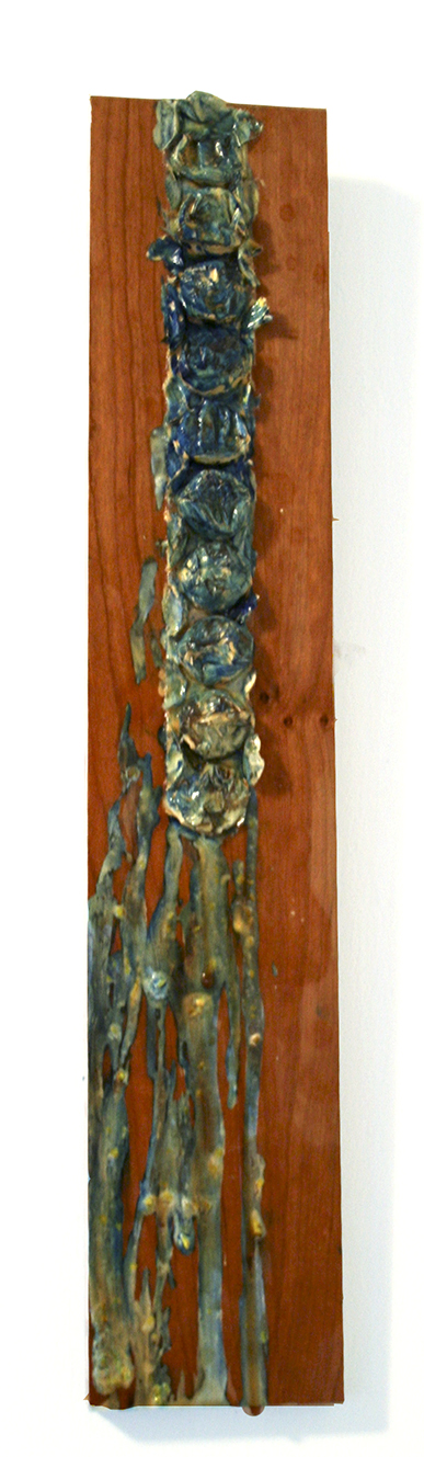 "Untitled  2008  Wood, bubble wrap, acrylic and oil paint  23.5"" x 4"""