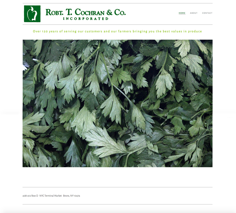 Web site establishment and design for  Robt. T. Cochran & Co.