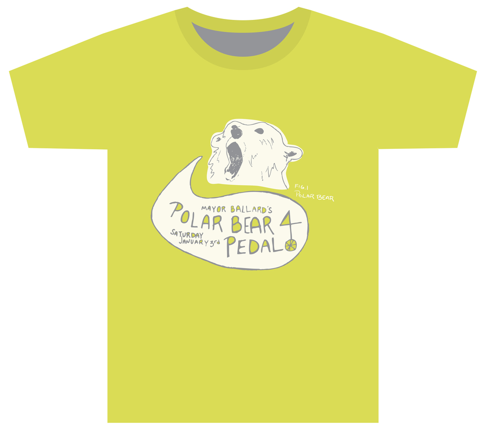T-shirt design for Indianapolis's former Mayor Ballard's annual Polar Bear Pedal bike ride