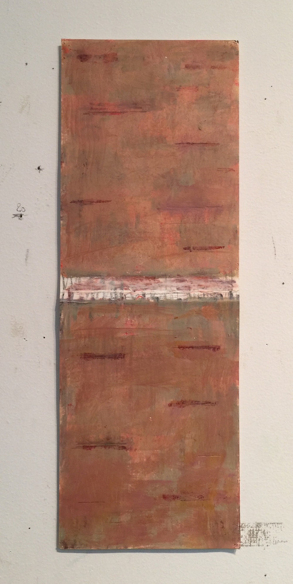 Betulla , 2014, oil on paper, 16 x 6""