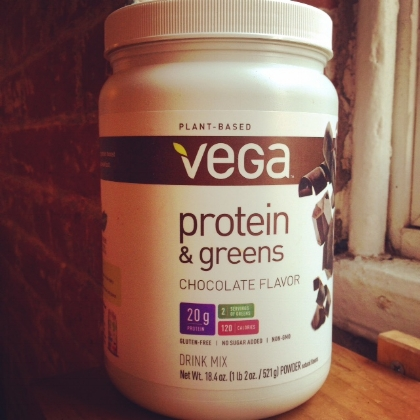 Vega Chocolate Protein and Greens Powder. So good – and I'm not even a chocolate person.