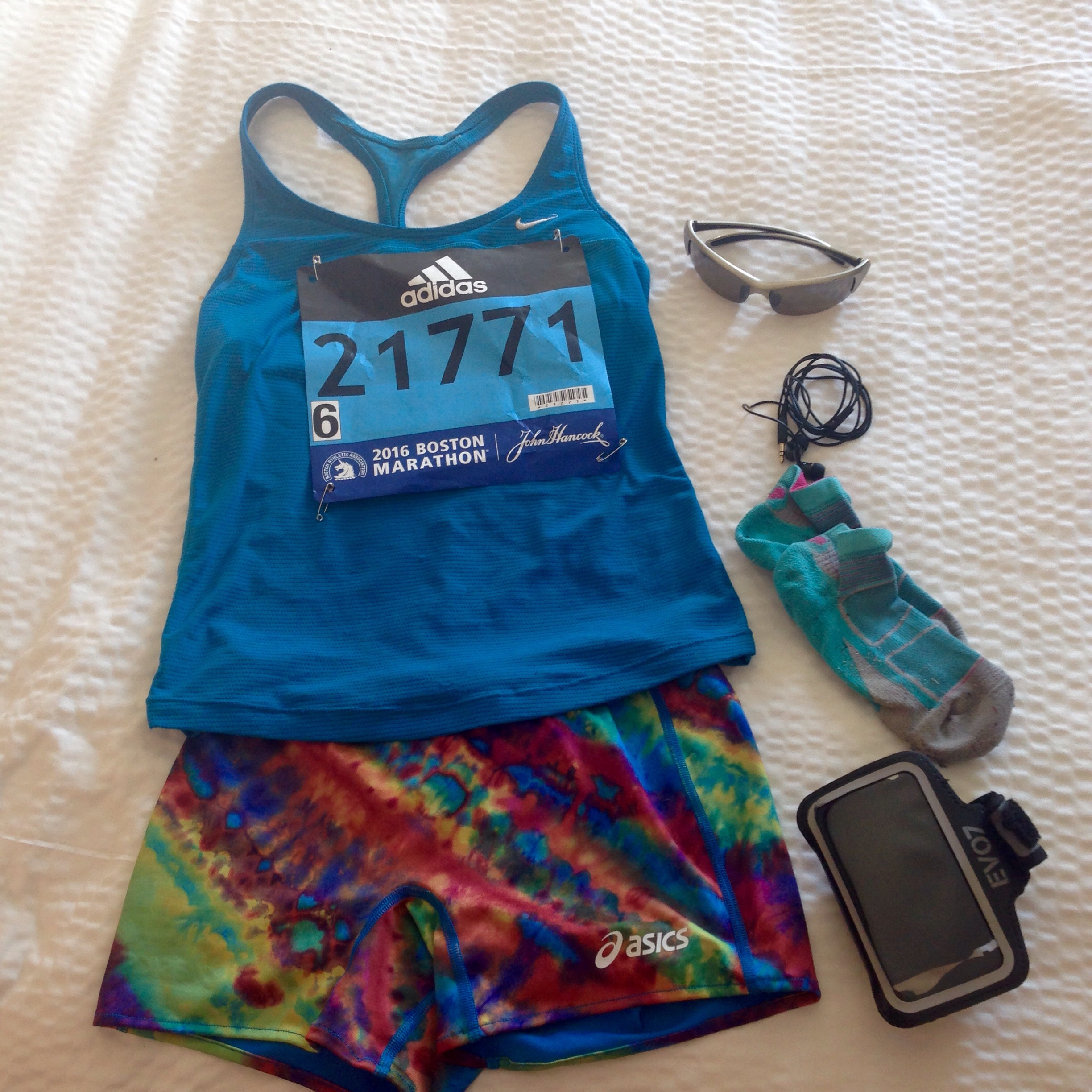 My kit. Don't laugh at my tie-die shorts; they kept me cool. Old Nike singlet, ASICS boy shorts, and my favorite Feetures socks. Shoes (not pictured):Brooks Launch 2,