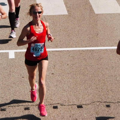 Digging deep at the end of the Broad Street Run, feeling fierce in my lucky red Athleta singlet.