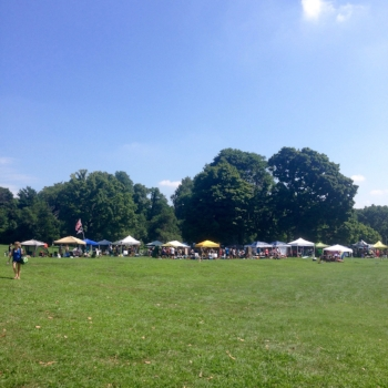 Belmont Plateau, dotted with the colorful running clubs' tents