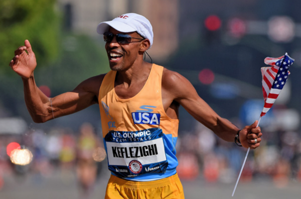 Meb Keflezighi celebrates after winning the Olympic Marathon Trials – at the tender age  of 41. Photo: Jonathan Moore/Getty Images