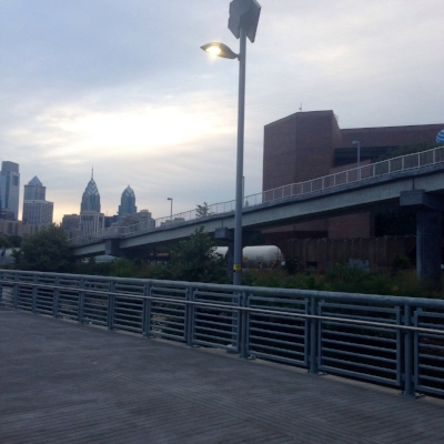 You can do short hill sprints on hills, treadmills or even ramps, such as this one on Schuylkill Banks in Philadelphia.