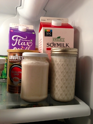 Homemade almond milk, chilling in the fridge.