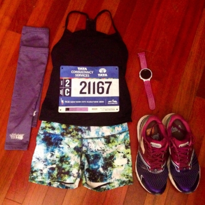 My kit for the 2015 NYC Marathon, with my beloved Brooks Launch shoes. You will probably need some throwaway arm warmers, like those pictured on the left.