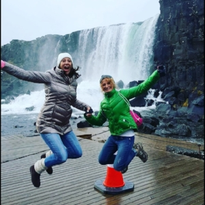 Pam and I jumping for joy at Gullfoss Waterfall. See video for a sense of the experience.