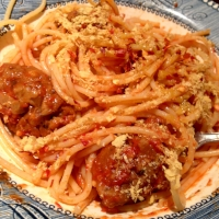 Meaty spheres with spaghetti – great post-race chow