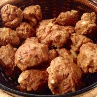 Meaty spheres, aka vegan meatballs. 9 grams of protein per sphere.