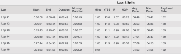 My splits for the Rothman 8K:  How not to run a flat-course race