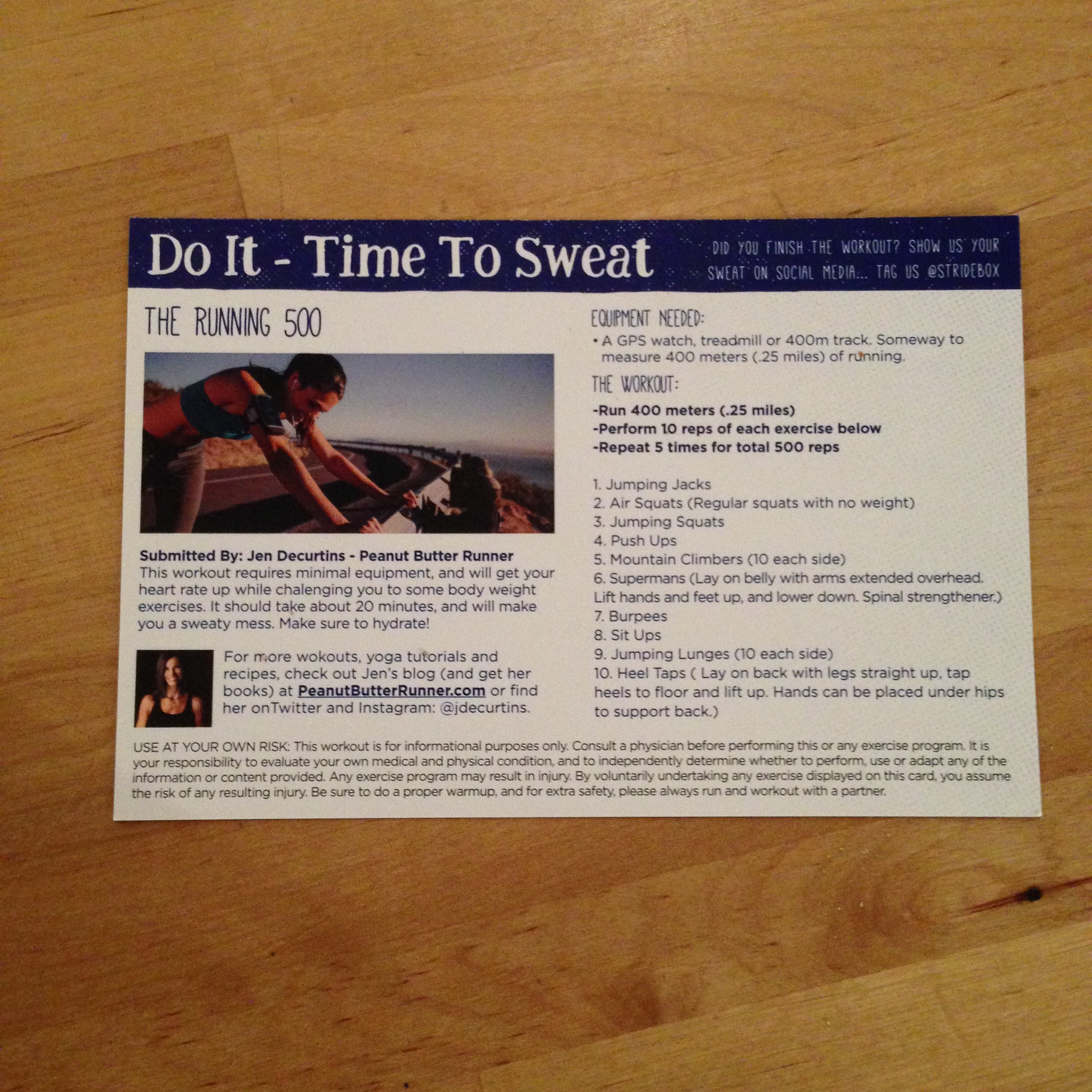 Sample workout/recipe card that comes in each box. This workout from Peanut Butter Runner looks like a toughie!