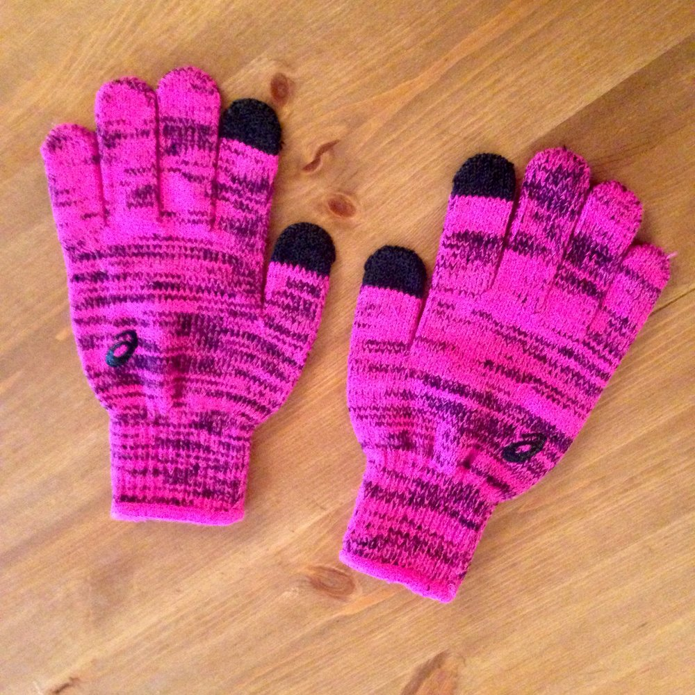 ASICS neon pink gloves.