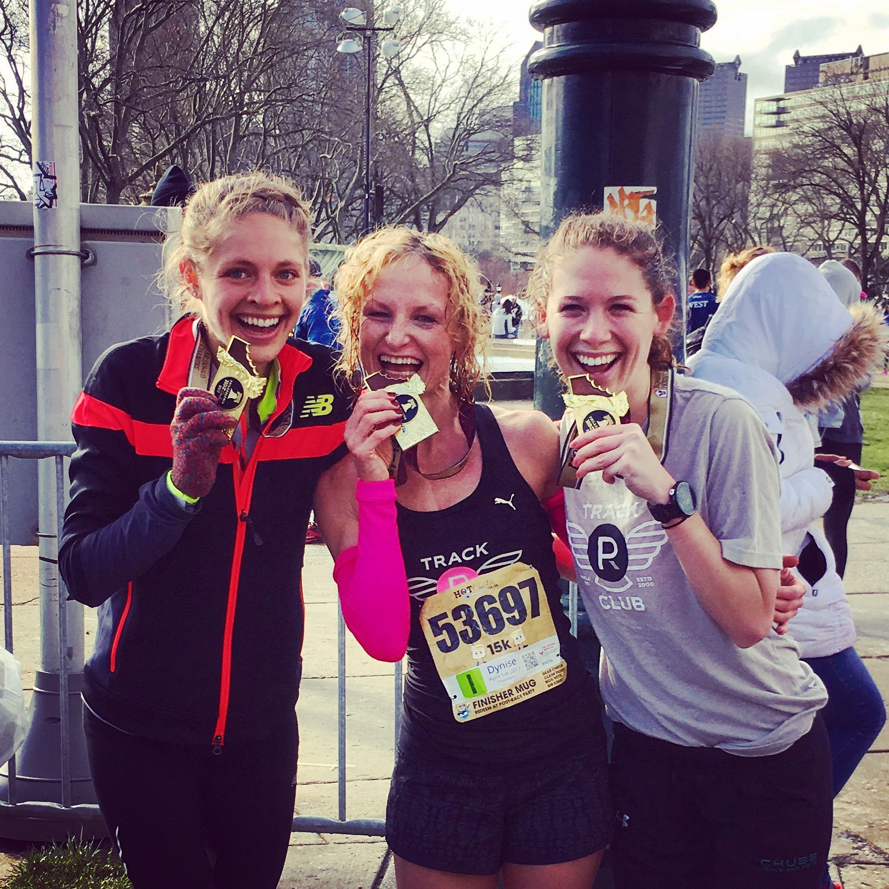All smiles post-race. I'm the slacker in an overachievers' sandwich ;) My Philadelphia Runner track Club teammate, Sam Roecker (left) won 1st female, 6 overall, and Kylie Pearse (right) won 2nd.