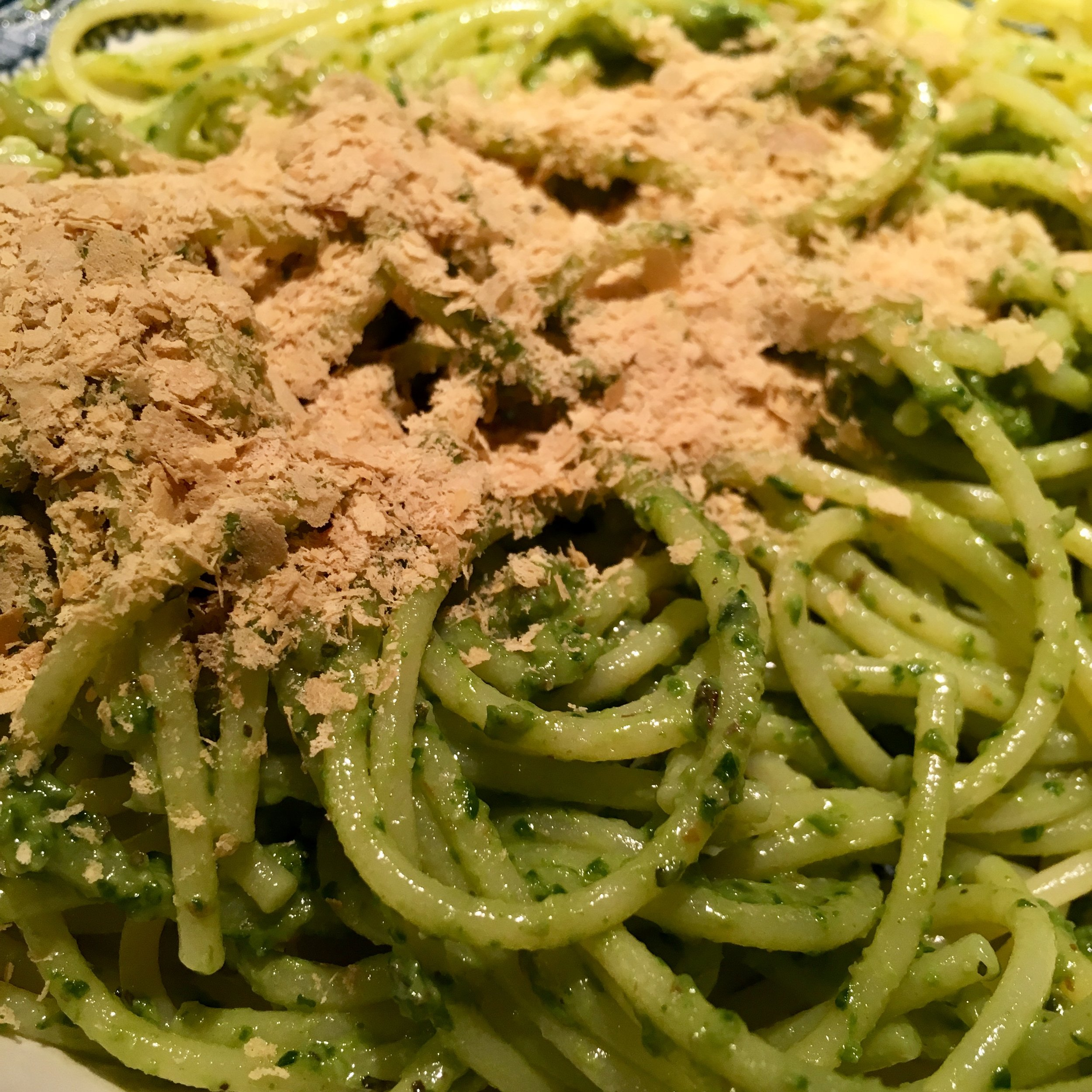 Pre-race dinner: Gluten-free pasta with pesto and nutritional yeast