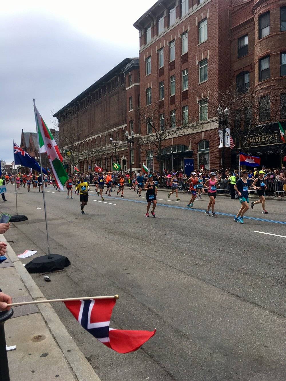 My view, spectating, right on Boylston Street not far from the finish.