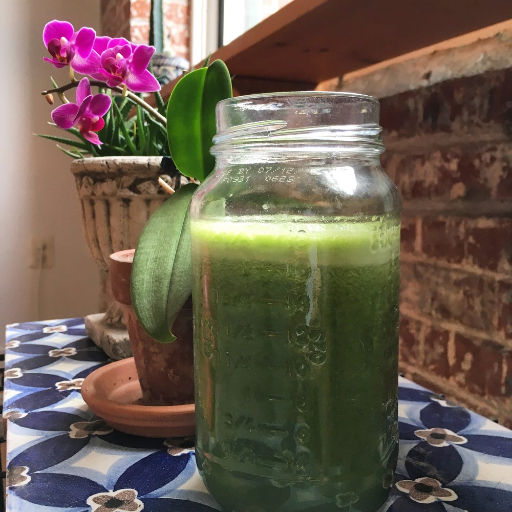 Green juice: the alkaline elixir of the goddesses, and a refreshing and healthy way to start the day.