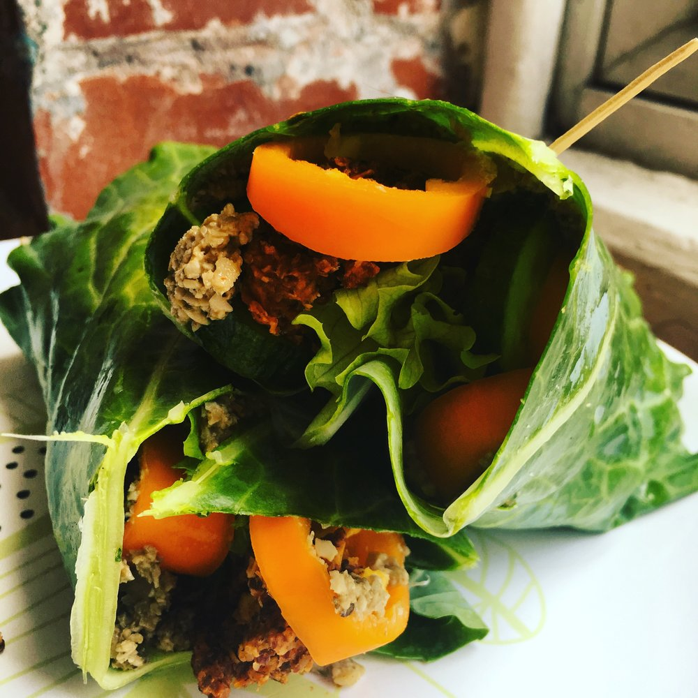 Collard wraps. Messy but good and a fun bread alternative