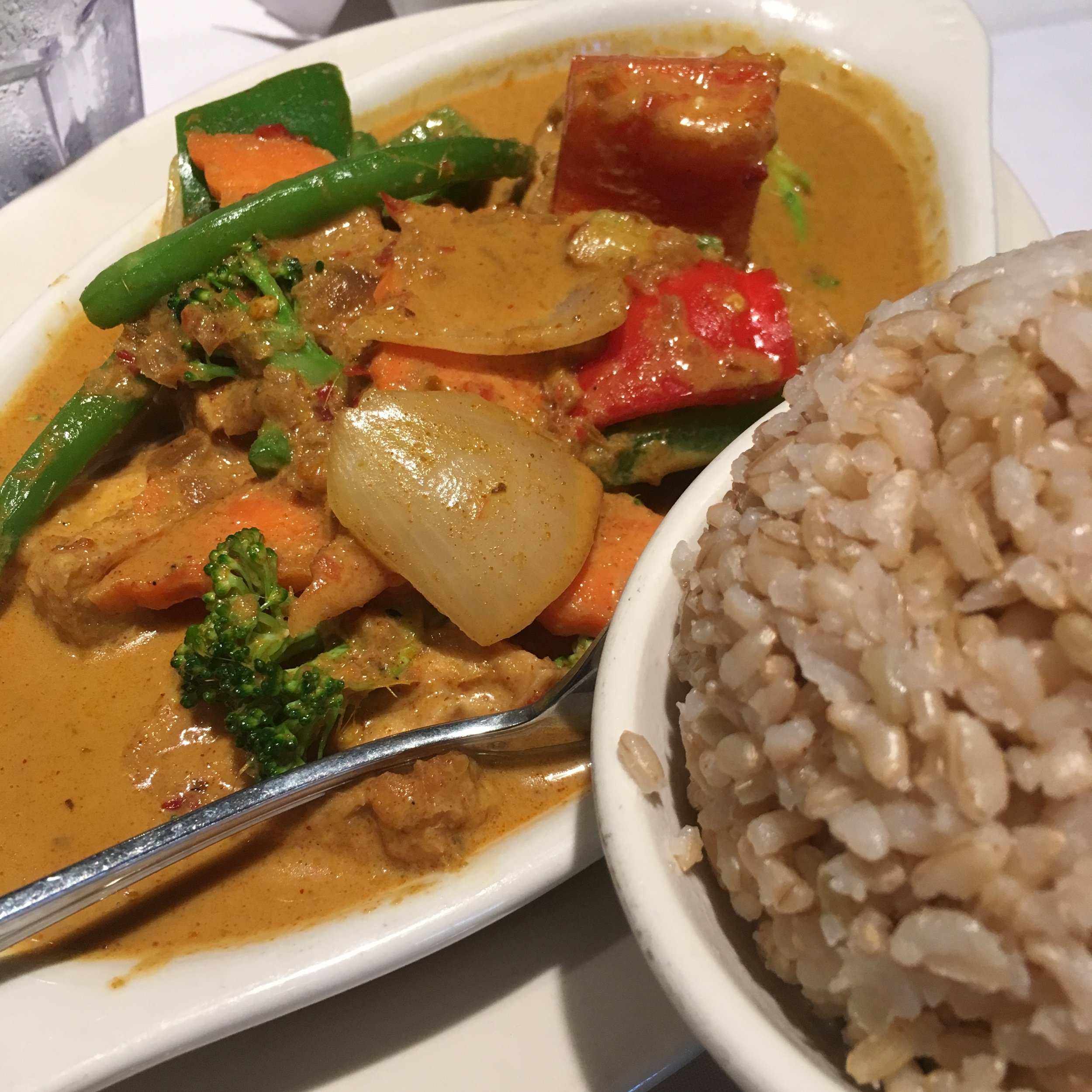 Curry veggies, tofu and brown rice at a restaurant in Cambridge. Not the best I've every had, but it was cleanse friendly