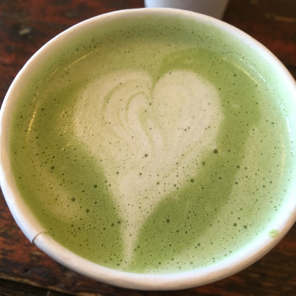 The best green tea (matcha) almond latte at Tatte